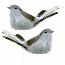 Sulka lintu langalla harmaa 12cm 4kpl