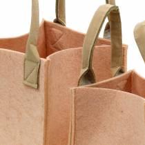 Huopa Pot Huopa vaaleanpunainen huopa laukku kahvoilla Huopa koristelu 2 kpl