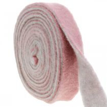 Ruukkunauha, koriste nauha villahuopa vanha vaaleanpunainen / harmaa W4.5cm L5m