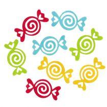 Huopakarkit Candy -valikoima värejä 5,5 cm 100p
