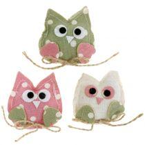 Koristeellinen pöllökangas 6cm vaaleanpunainen / vihreä / valkoinen 6kpl