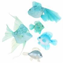 Koristeellinen kala ripustettavaksi sininen turkoosi vihreä harmaa 10-22cm 5kpl