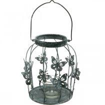 Kevät koristelu, lyhty perhosilla, metallinen lyhty, kesä, kynttiläkoriste, kynttiläkoristelu