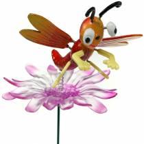 Puutarhojen sudenkorento kukassa, metallinen jousioranssi, vaaleanpunainen H74cm