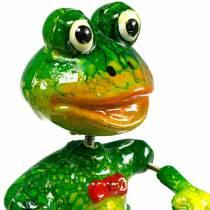 Kasvitulppa koristeluun sammakko rusetti ja metallihöyhenet vihreä, keltainen, punainen H68.5cm