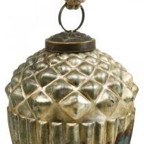 Tammenterho roikkumaan, syksyn hedelmät, puukoristeet aitoa lasia, antiikkilook Ø7.5cm H10.5cm 2kpl.