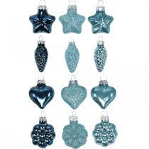 Mini joulukuusen koristeet Mix lasi sininen, glitter valikoituja 4cm 12kpl
