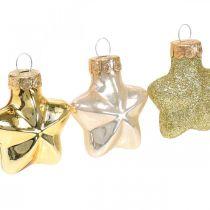 Mini joulukuusen koristeet Mix lasi kulta, helmi valikoituja 4cm 12kpl 12cm 12kpl