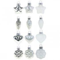 Mini joulukuusen koristeet Mix lasi valkoinen, hopea valikoituja 4cm 12kpl