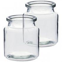 Lasipurkki täytettäväksi, kukkamaljakko, pöydän koriste, lasinen lyhty 2kpl.