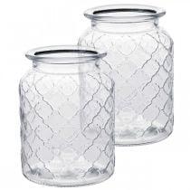Lasimaljakko timanttikuvio, lyhty, koristeellinen lasiastia, pöydän koristelu 2kpl.