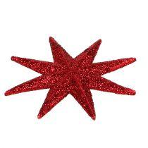 Glitter tähti punainen Ø10cm 12kpl