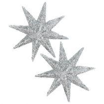 Glitter tähti hopea Ø10cm 12kpl