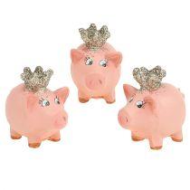 Lucky Pig vaaleanpunainen kruunulla 4cm 6kpl