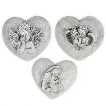 Hautakoristeet sydämet enkelillä 9cm 3kpl
