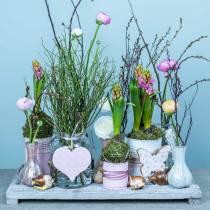 Riippuva koristelu Sydän kukka perhonen valkoinen, vaaleanpunainen puu kevät koristelu 6kpl