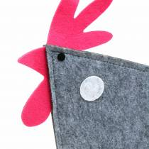 Koristeellinen kukko huopasta, pisteillä harmaa, valkoinen, vaaleanpunainen 30cm x 5cm K31.5cm pääsiäiskoriste, näyteikkuna