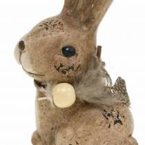 Koristeelliset hahmot kanit höyhenillä ja puuhelmillä ruskea valikoituja 7cm x 4,9cm K 10cm 2kpl
