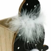 Bunny Planter Box Feather Boa Musta, valkoinen Dotted Wood pääsiäispupu