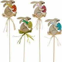 Pupu pääsiäismunalla tikulla, kukkatulppa pääsiäispupu, puinen koriste pääsiäinen, koristetulppa, kukkakoriste 12kpl.