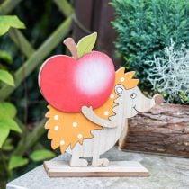Syksyn hahmo, siili omenan ja sienen kanssa, puinen koriste oranssi/punainen H24/23,5cm 2 kpl setti