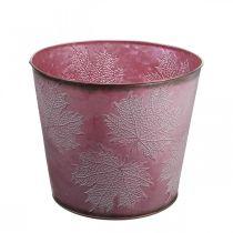 Syksyn ruukku, kasviämpäri, metallinen deko lehdillä Viininpunainen Ø25,5cm K22cm