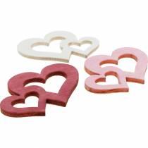 Puiset sydämet, sirotusartikkeli pöydän koristeluun, ystävänpäivään, hääkoristeluun, tuplasydän 72kpl.