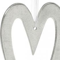 Deco sydän ripustaa hopea alumiini häät koriste 22×12cm