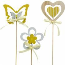 Koristepistoke perhonen kukka ja sydän, kevätkoriste, kukkapistoke, ystävänpäivä 9kpl