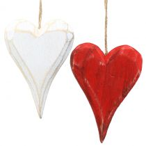 Puiset sydämet ripustettavaksi punaisena, valkoisena 11,5 cm 4kpl