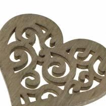 Pöytäkoristelu sydän puu valkoinen, kerma, ruskea 4cm 72p