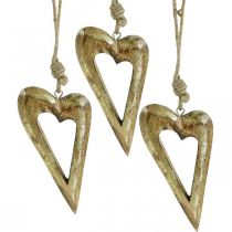 Koristesydän, mangopuu kultaefekti, puukoriste ripustettavaksi 13,5cm × 7cm 4kpl 4kpl