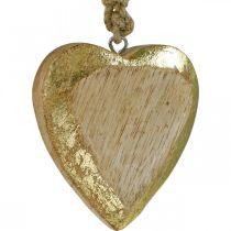Ripustettavat sydämet, mangopuuta, puukoriste, kultaefekti 8,5cm × 8cm 6kpl 6kpl