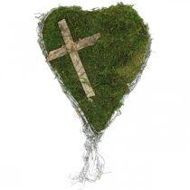 Hautakoriste sydämen viiniköynnökset, sammal ja risti haudan järjestelyyn 30×20cm