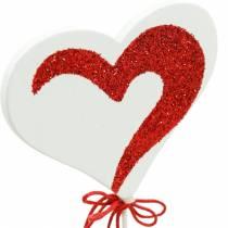 Sydän tikulla Punainen, Valkoinen Deco Sydän Koristetulppa Ystävänpäivä 16kpl