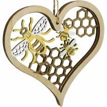 Koriste Sydän mehiläiset keltainen, kultainen puu roikkuu sydän kesän koriste 6kpl
