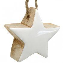 Joulukuusen koristeet puun sekoitus sydän tähti kuusi valkoinen, luonto 5cm 27kpl.