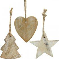 Puinen riipus, kuusi/sydän/tähti, joulukoristesetti H7,5/8cm 9kpl.