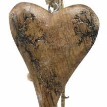 Puiset sydämet, joissa on kimallekappaleet nauhalle ripustamaan luonnollinen L60cm