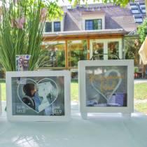 """Häärahalaatikko """"Honeymoon Fund"""" -puupinta lasi edessä valkoinen H15m"""