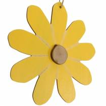Puiset kukat ripustettavaksi, kevätkoriste, puusta valmistetut kukat keltaista ja valkoista, kesäkukkia 8kpl.