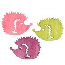 Hedgehog figuurien puukoristelusekoitus monivärinen 4cm 72kpl