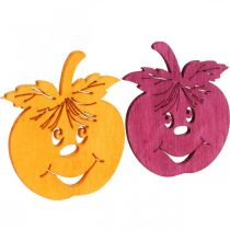 Hajakoriste Naurava omena, syksy, pöydän koriste, puinen omena Oranssi, keltainen, vihreä, vaaleanpunainen H3,5cm W4cm 72kpl.