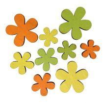 Puinen kukka 2-3,5cm Oranssi, vihreä, keltainen 36kpl