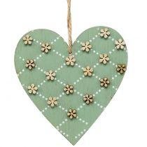 Puinen sydän ripustettavaksi vihreä / luonnollinen 10cm 4kpl