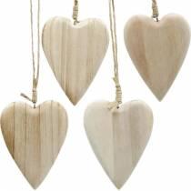 Riippuvat puiset sydämet luonnon 10cm 4kpl