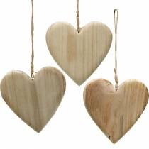 Puinen sydän ripustaa luonto koriste sydämet ystävänpäivä äitienpäivä 3kpl