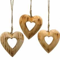 Koristeellinen riipus sydän, puiset sydämet, ystävänpäivä, puinen riipus, häät koriste 6kpl