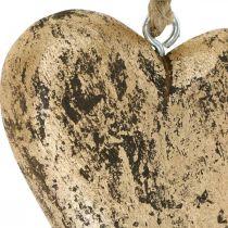 Ripustettu sydän puinen kultainen vintage ripustin 15cm