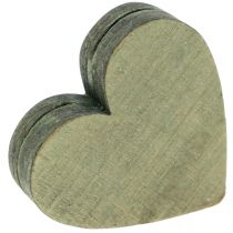 Puiset sydämet harmaa / punainen / vihreä 3-6,5 cm 8kpl